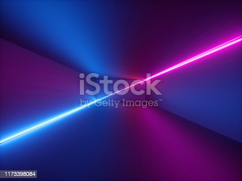 istock 3d render, pink red blue neon light, abstract background with glowing lines, cyber space in virtual reality, night club room interior, fashion podium or stage, empty corridor in ultraviolet spectrum 1173398084