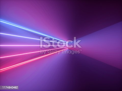 905332472istockphoto 3d render, pink red blue neon light, abstract background with glowing lines, cyber space in virtual reality, night club room interior, fashion podium or stage, empty corridor in ultraviolet spectrum 1174840462