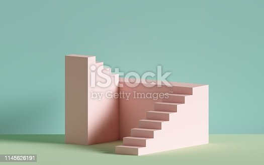 istock 3d render, pink stairs, steps, abstract background in pastel colors, fashion podium, minimal scene, architectural block, design element 1145626191