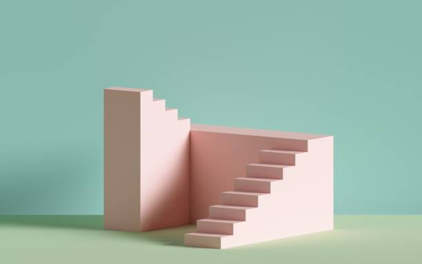 3d レンダリング、ピンクの階段、ステップ、パステルカラーの抽象的な背景、ファッション表彰台、ミニマルシーン、建築ブロック、デザイン要素 - ステップ ストックフォトと画像