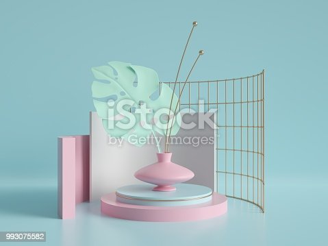 993080194 istock photo 3d render, primitive shapes, abstract geometric background, cylinder podium, modern minimalistic mock up, template, gold metal grid, palm leaf, showcase, shop display, mint blue pink pastel colors 993075582