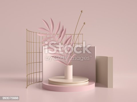 993080194 istock photo 3d render, primitive shapes, abstract geometric background, cylinder podium, modern minimalistic mock up, template, rose gold metal grid, palm leaf, showcase, shop display, blush pink pastel colors 993075666