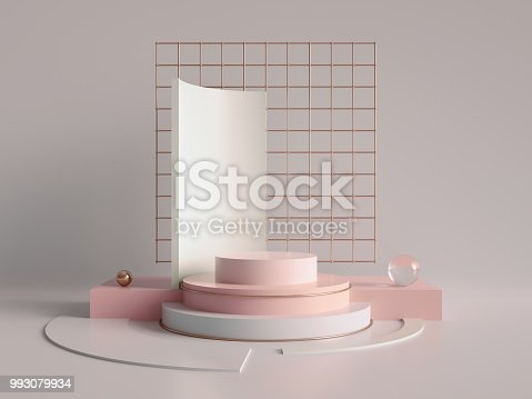 993080194 istock photo 3d render, primitive shapes, abstract geometric background, cylinder podium, modern minimalistic mock up, blank template, rose gold metal grid, empty showcase, shop display, blush pink pastel colors 993079934