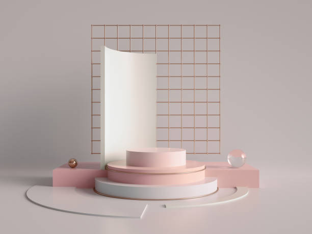3d render, primitive shapes, abstract geometric background, cylinder podium, modern minimalistic mock up, blank template, rose gold metal grid, empty showcase, shop display, blush pink pastel colors stock photo