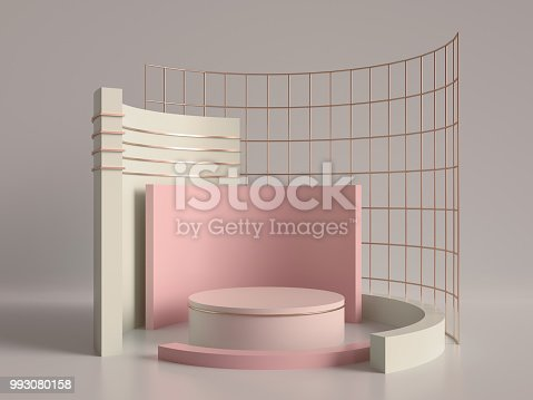 993080194 istock photo 3d render, primitive shapes, abstract geometric background, cylinder podium, modern minimalistic mock up, blank template, rose gold metal grid, empty showcase, shop display, blush pink pastel colors 993080158