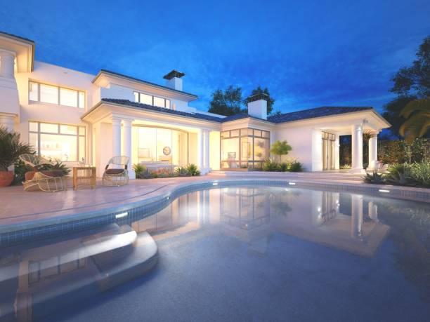 renderowanie 3d. prywatny widok na basen willi na noc, na zewnątrz. - luksus zdjęcia i obrazy z banku zdjęć
