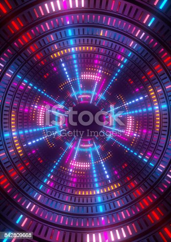 istock 3d render, purple, blue, pink, neon lights, round hole, tunnel, abstract geometric background 842809668