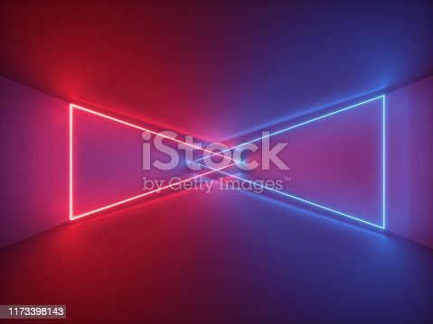 istock 3d render, red blue neon light, abstract background with glowing triangles, cyber space in virtual reality, night club room interior, fashion podium or stage, empty corridor in ultraviolet spectrum 1173398143