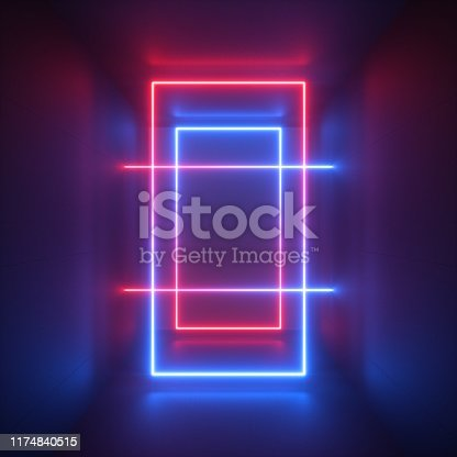 905332472istockphoto 3d render, red blue neon light, abstract background with glowing lines, rectangular shapes, ultraviolet spectrum 1174840515