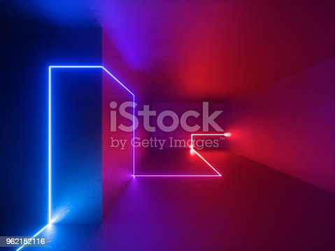 istock 3d render, red blue neon lights indoor, virtual reality, glowing lines, abstract psychedelic background, vibrant colors 962182116