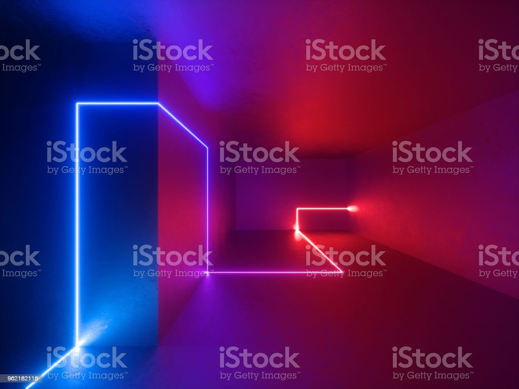 3d render, red blue neon lights indoor, virtual reality, glowing lines, abstract psychedelic background, vibrant colors stock photo