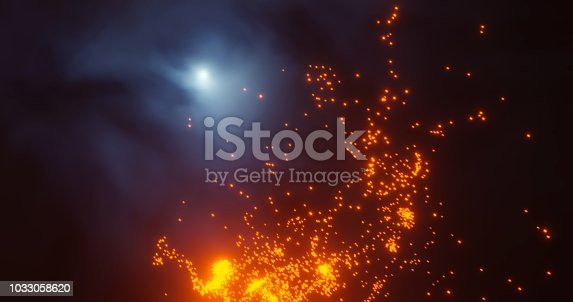 3d render. Red Christmas stars and New Year sparkling whirlwinds of star dust on a black background bokeh.prazdnichnaya garland or magic flaming dust