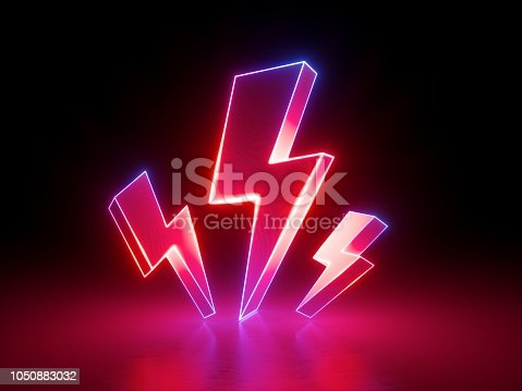 istock 3d render, red flash lightnings, electric power symbol, retro neon glowing sign isolated on black background, ultraviolet light, electricity, electric lamp, adult sex icon, fluorescent element 1050883032