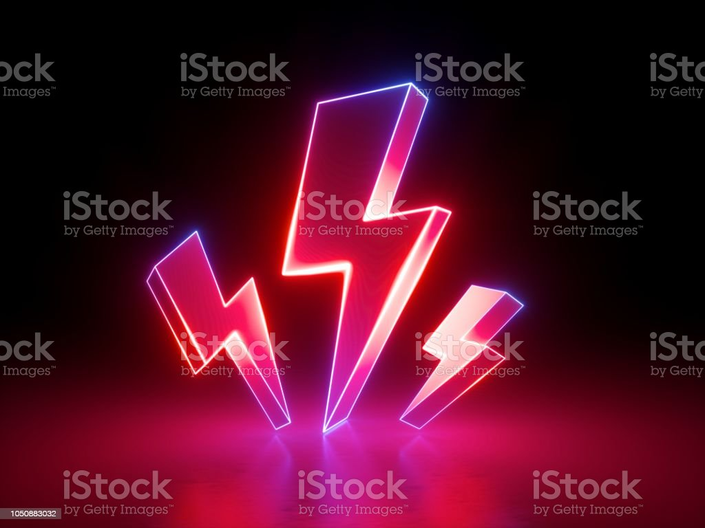 3d render, red flash lightnings, electric power symbol, retro neon glowing sign isolated on black background, ultraviolet light, electricity, electric lamp, adult sex icon, fluorescent element stock photo