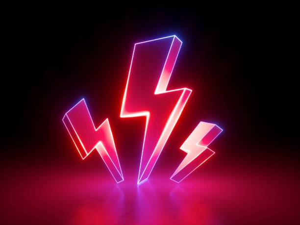3d render, red flash lightnings, electric power symbol, retro neon glowing sign isolated on black background, ultraviolet light, electricity, electric lamp, adult sex icon, fluorescent element - abstract logo stock photos and pictures
