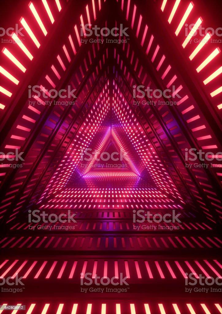 luzes de néon 3D render, vermelha, túnel do triângulo, abstrato base geométrica - foto de acervo
