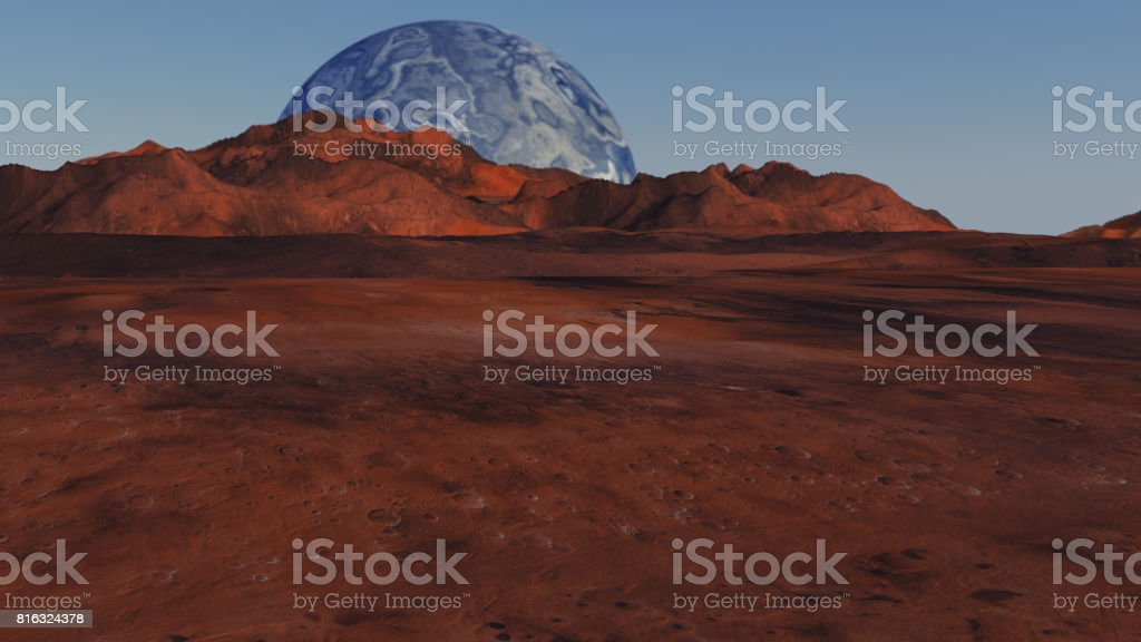 3d render. Red planet and distant planet stock photo