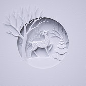 3d render, reindeer, wild animal, fir tree, stag, white tree, Christmas greeting card, white paper cut winter scene, flat layers, art craft, paper texture, round composition