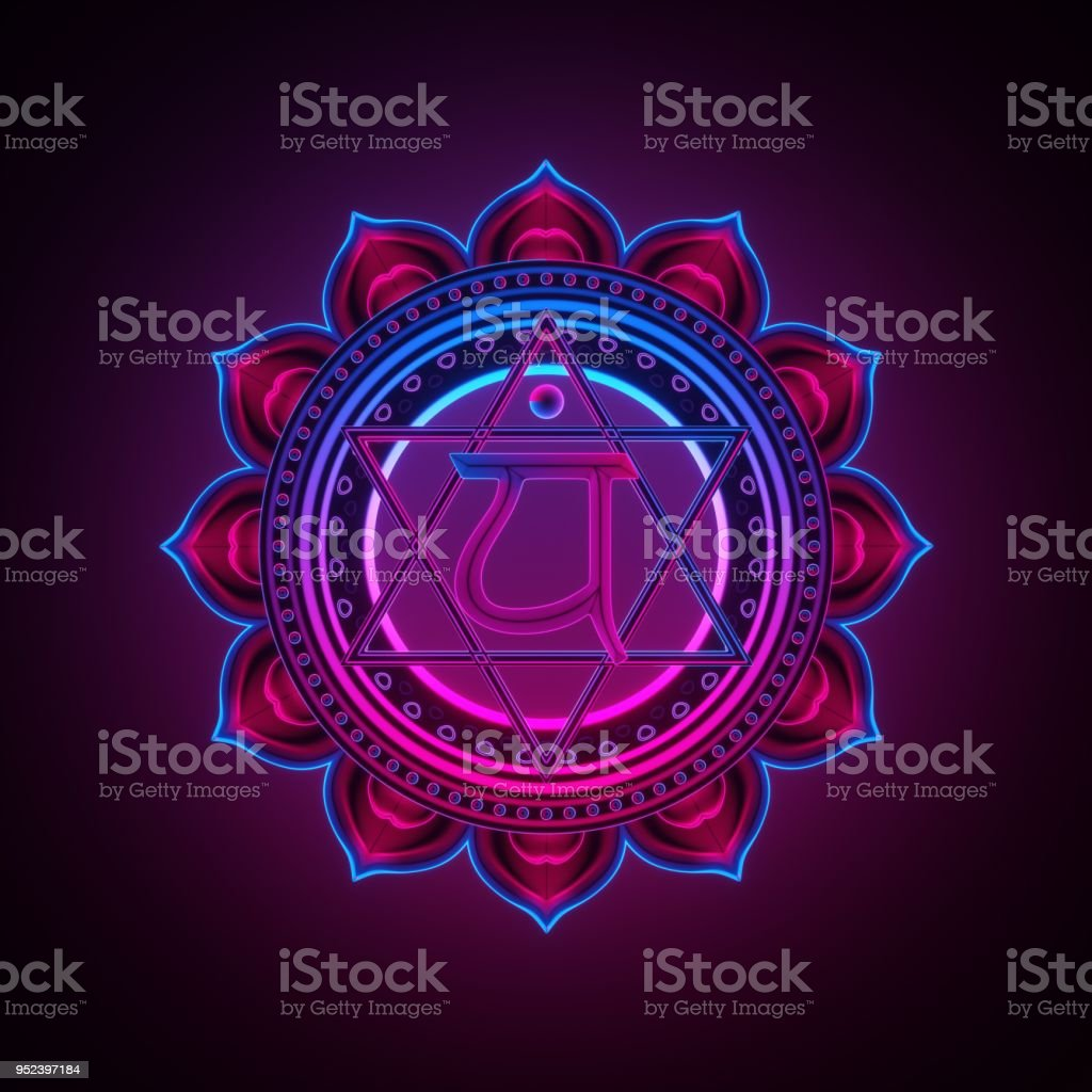 3d render, sacred geometry, Anahata chakra symbol, neon light abstract background, spiritual chackra symbol, religious sign, esoteric mandala, modern illustration stock photo