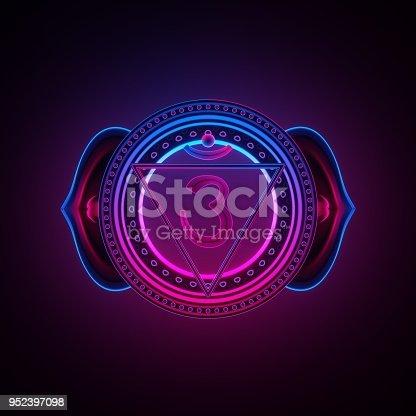 istock 3d render, sacred geometry, indigo Ajna third eye chakra symbol, neon light abstract background, spiritual chackra symbol, religious sign, esoteric mandala, modern illustration 952397098