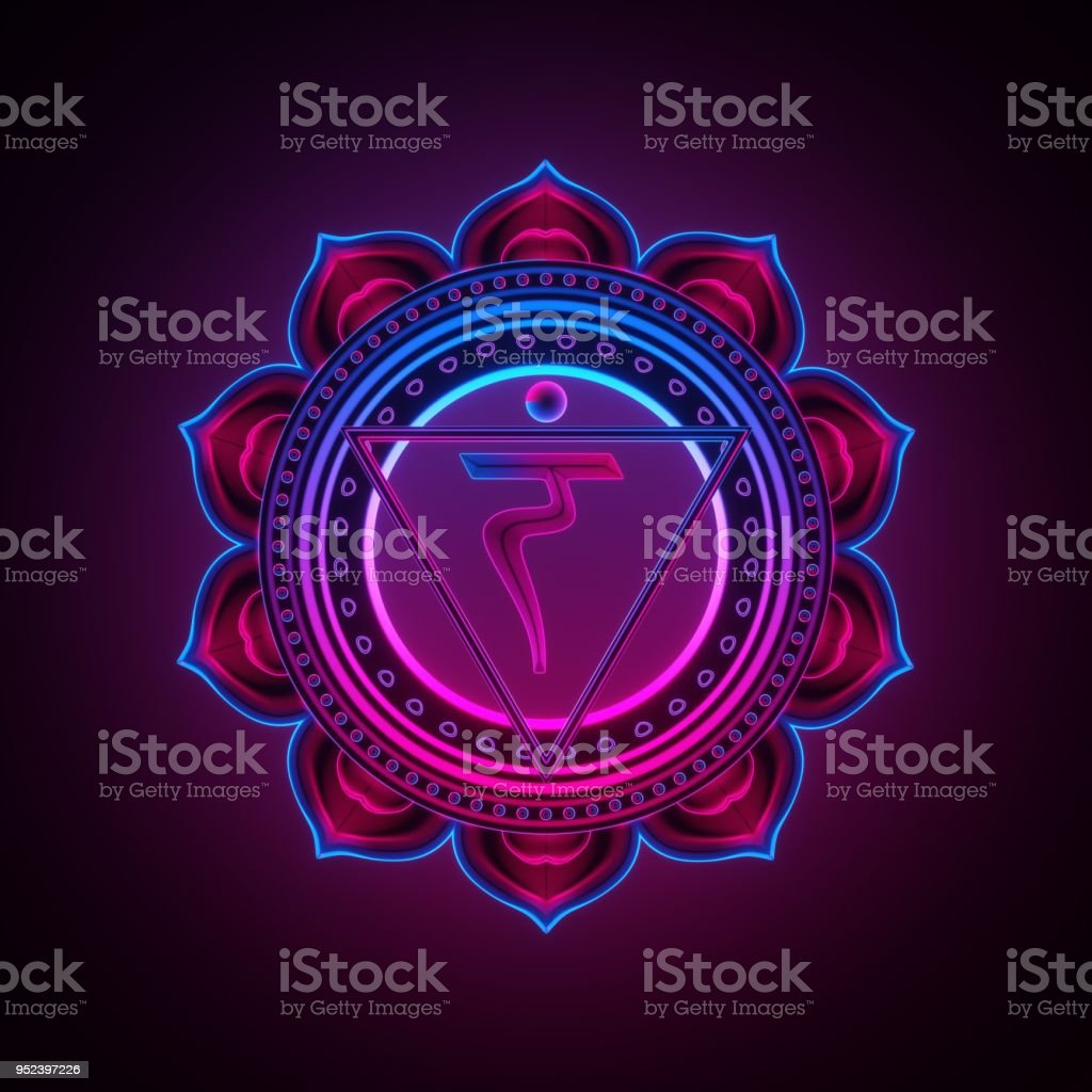 3d render, sacred geometry, Manipura chakra symbol, neon light abstract background, spiritual chackra symbol, religious sign, esoteric mandala, modern illustration stock photo