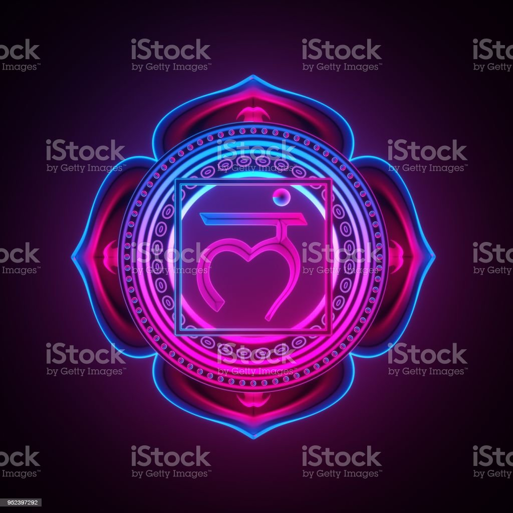 3d render, sacred geometry, Muladhara chakra symbol, neon light abstract background, spiritual chackra symbol, religious sign, esoteric mandala, modern illustration stock photo