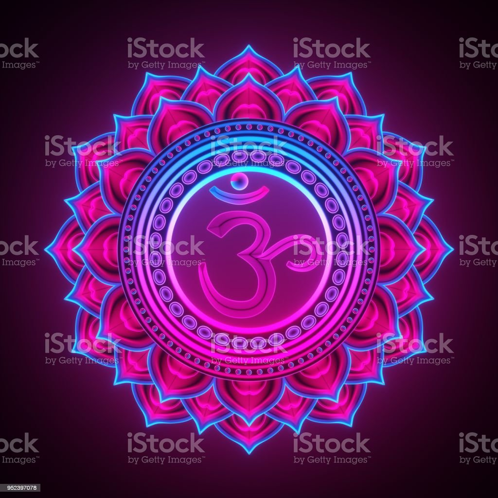 3d render, sacred geometry, Sahasrara chackra symbol, neon light abstract background, spiritual chakra symbol, religious sign, esoteric mandala, modern illustration stock photo