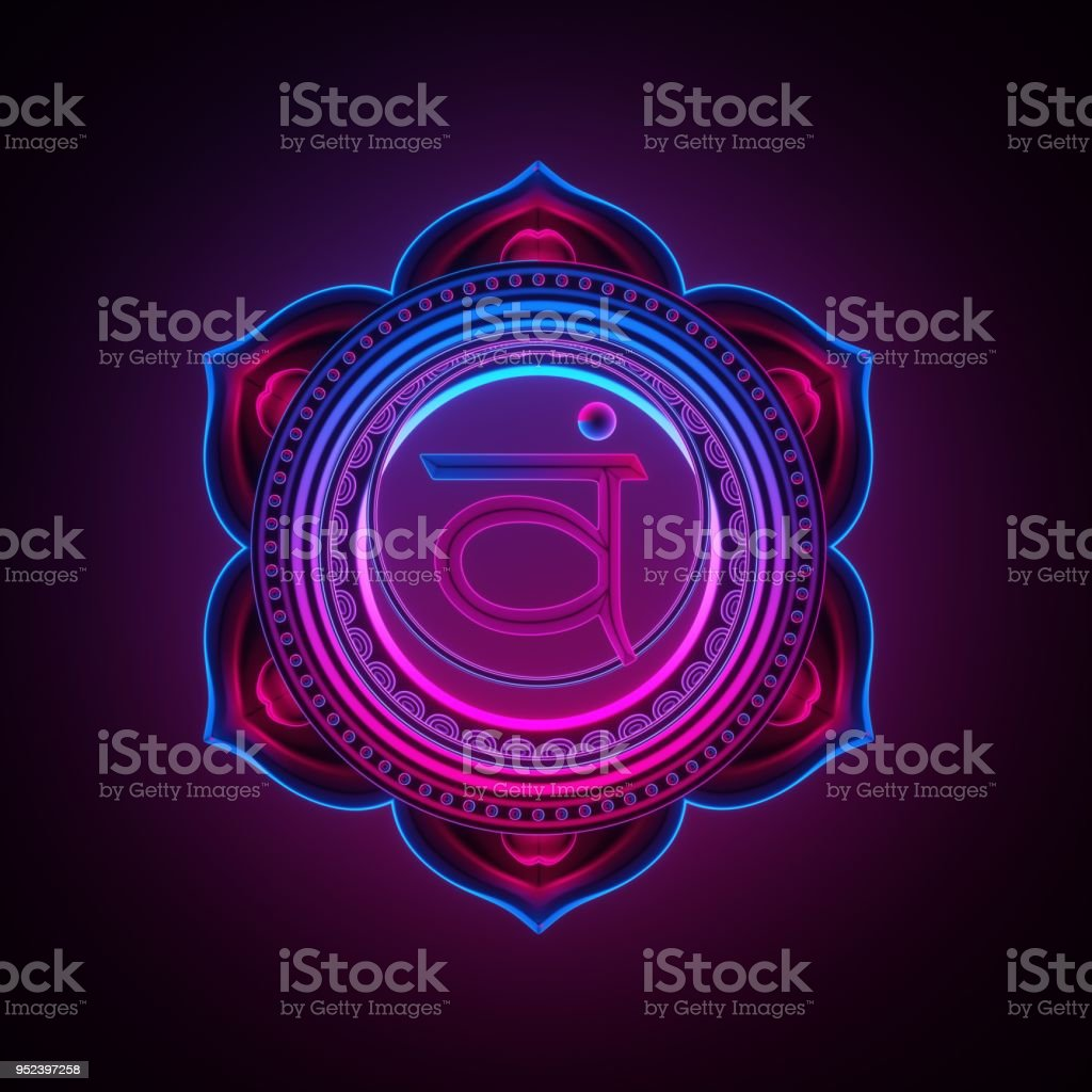 3d render, sacred geometry, Swadhisthana chakra symbol, neon light abstract background, spiritual chackra symbol, religious sign, esoteric mandala, modern illustration stock photo