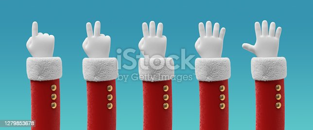 istock 3d render, Santa Claus cartoon character hands, fingers show numbers from one to five. Counting sequence. Christmas clip art isolated on blue background 1279853678