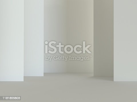 istock 3d render scene. White walls and floor. Mockap to represent your product. Abstract modern architecture background 1181855803