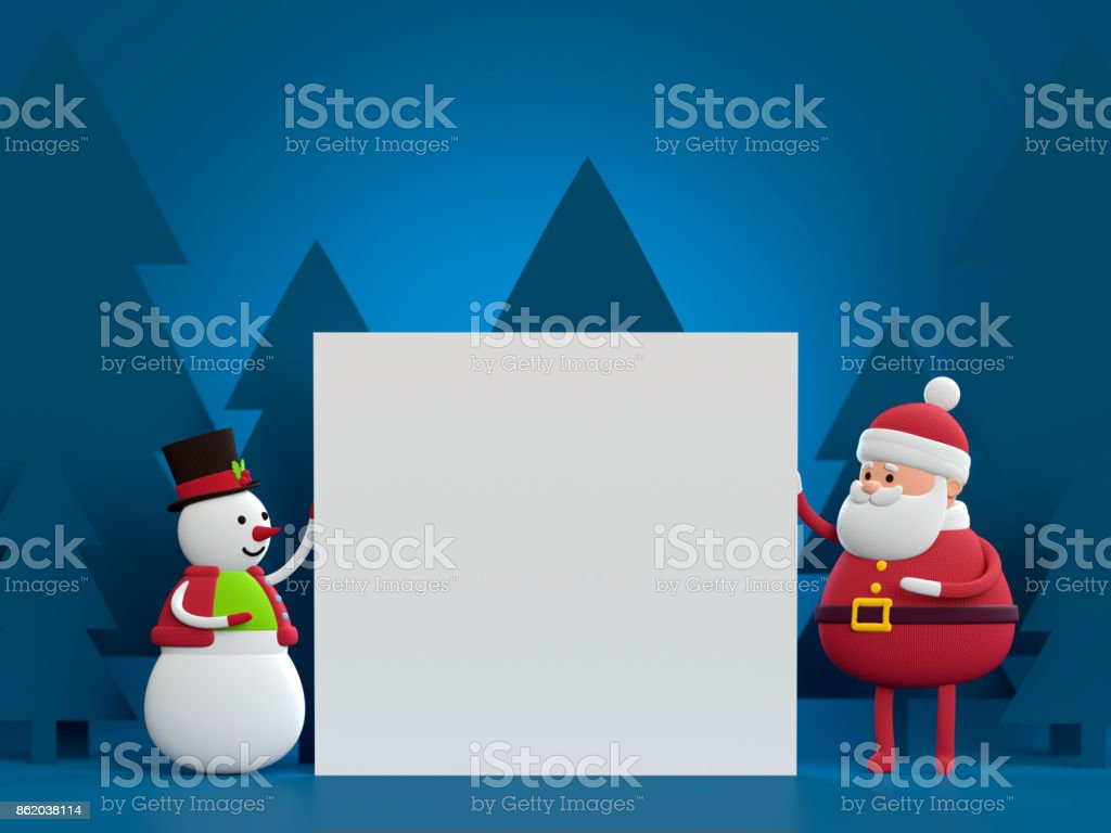 3d render, snowman and Santa Claus, holding white paper sheet, blank page, empty space, square card, toys, blue background stock photo