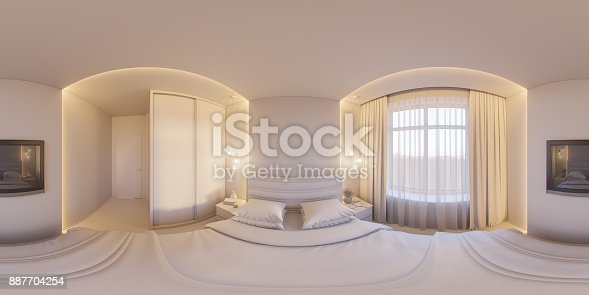 istock 3d render spherical 360 degrees, seamless panorama of a white bedroom 887704254