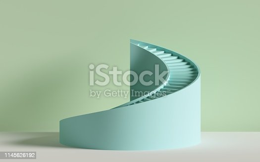 istock 3d render, spiral stairs, steps, cylinder, abstract background in pastel colors, minimal scene 1145626192