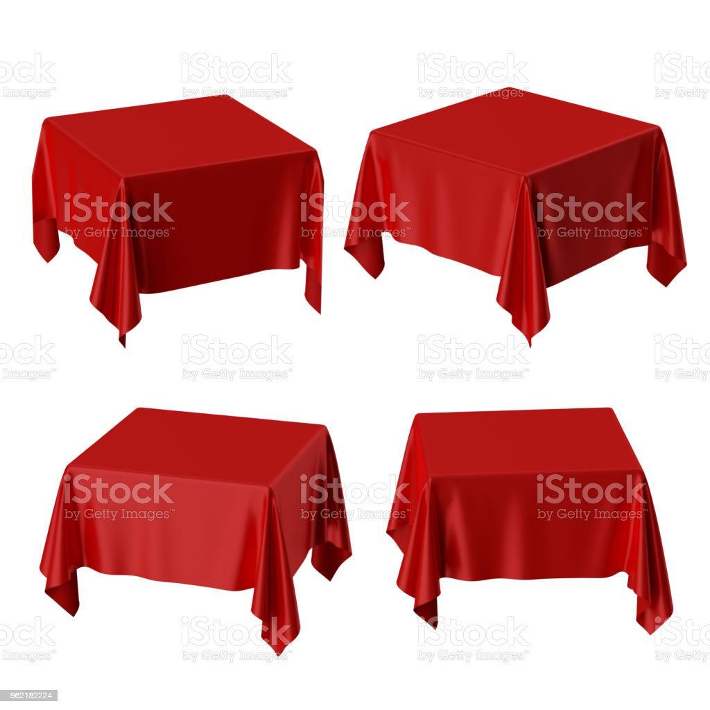 3d Render Square Table Covered With Red Blank Tablecloth ...