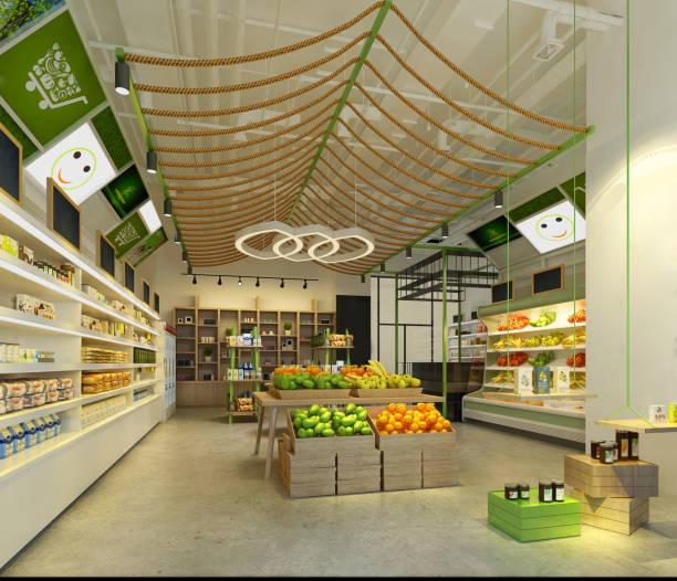 3d render supermarket 3d render supermarket, food store. market retail space stock pictures, royalty-free photos & images