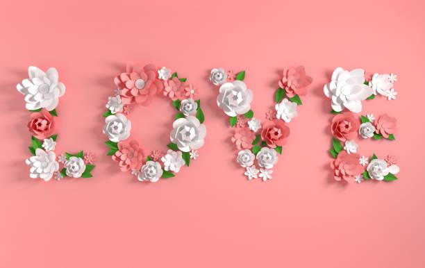 3d render text liebe hergestellt aus papierblumen und blätter auf rosa hintergrund. moderne papiermaschinen kunstdesign für karten oder banner für 14 februar valentinstag, hochzeit. - herz zitate stock-fotos und bilder