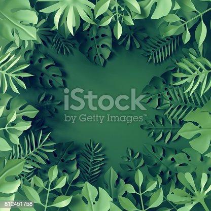 istock 3d render, tropical paper leaves, blue scene background, jungle, frame 812451758