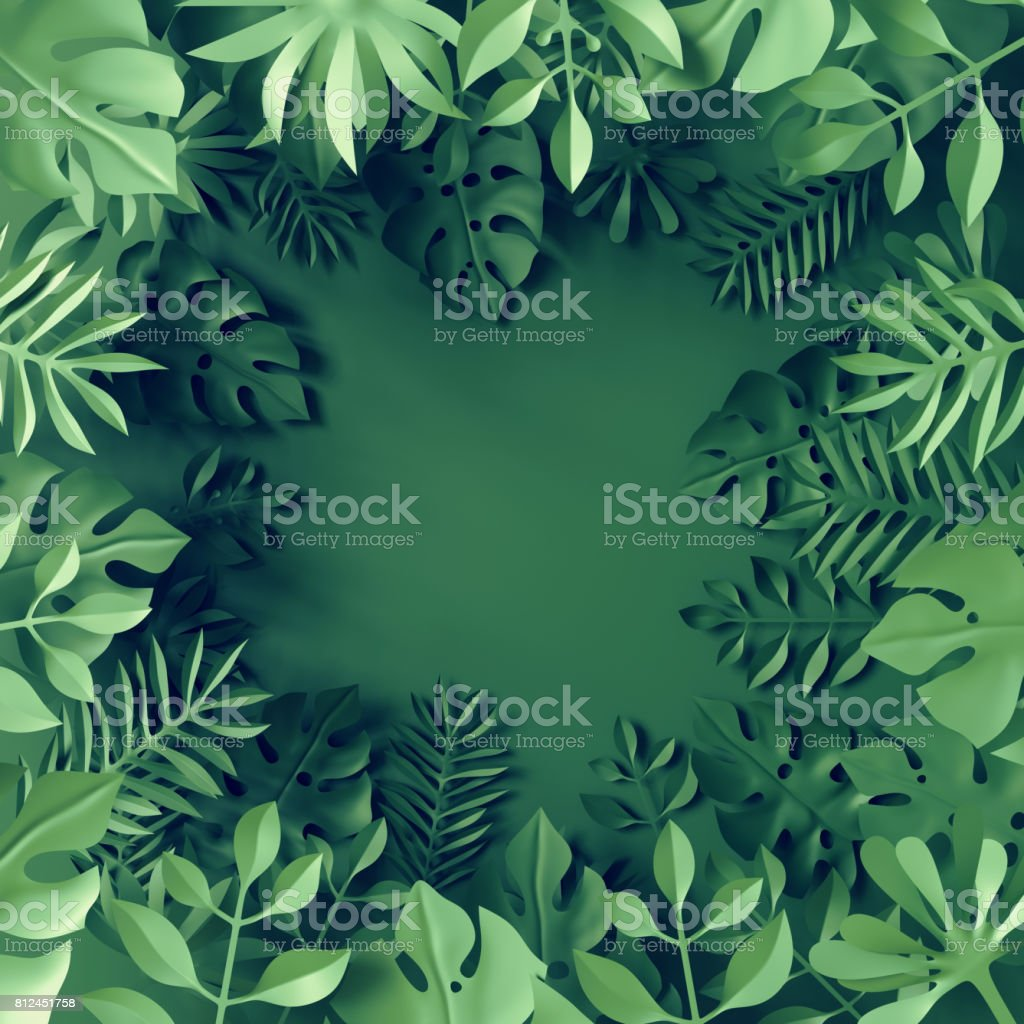 3d render, tropical paper leaves, blue scene background, jungle, frame stock photo