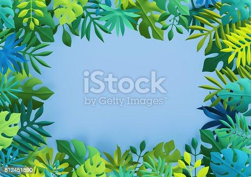 istock 3d render, tropical paper leaves, blue scene background, jungle, frame 812451890