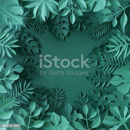 istock 3d render, tropical paper leaves, blue scene background, jungle, frame 812451952