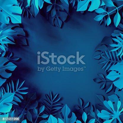 istock 3d render, tropical paper leaves, blue scene background, jungle, frame 812451996