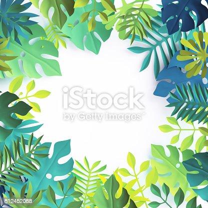 istock 3d render, tropical paper leaves, blue scene background, jungle, frame 812452088