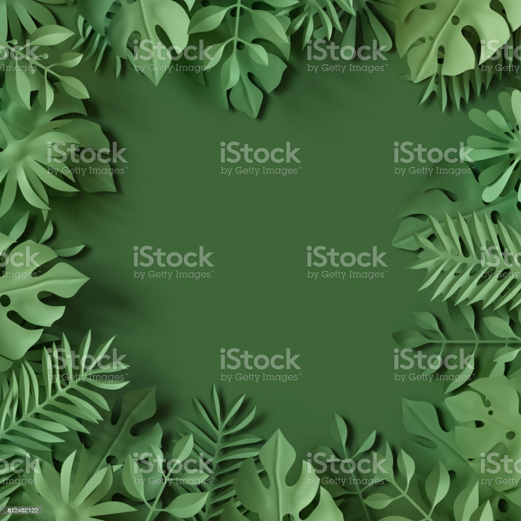 3d render, tropical paper leaves, green scene background, jungle, frame stock photo