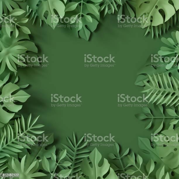 Photo of 3d render, tropical paper leaves, green scene background, jungle, frame