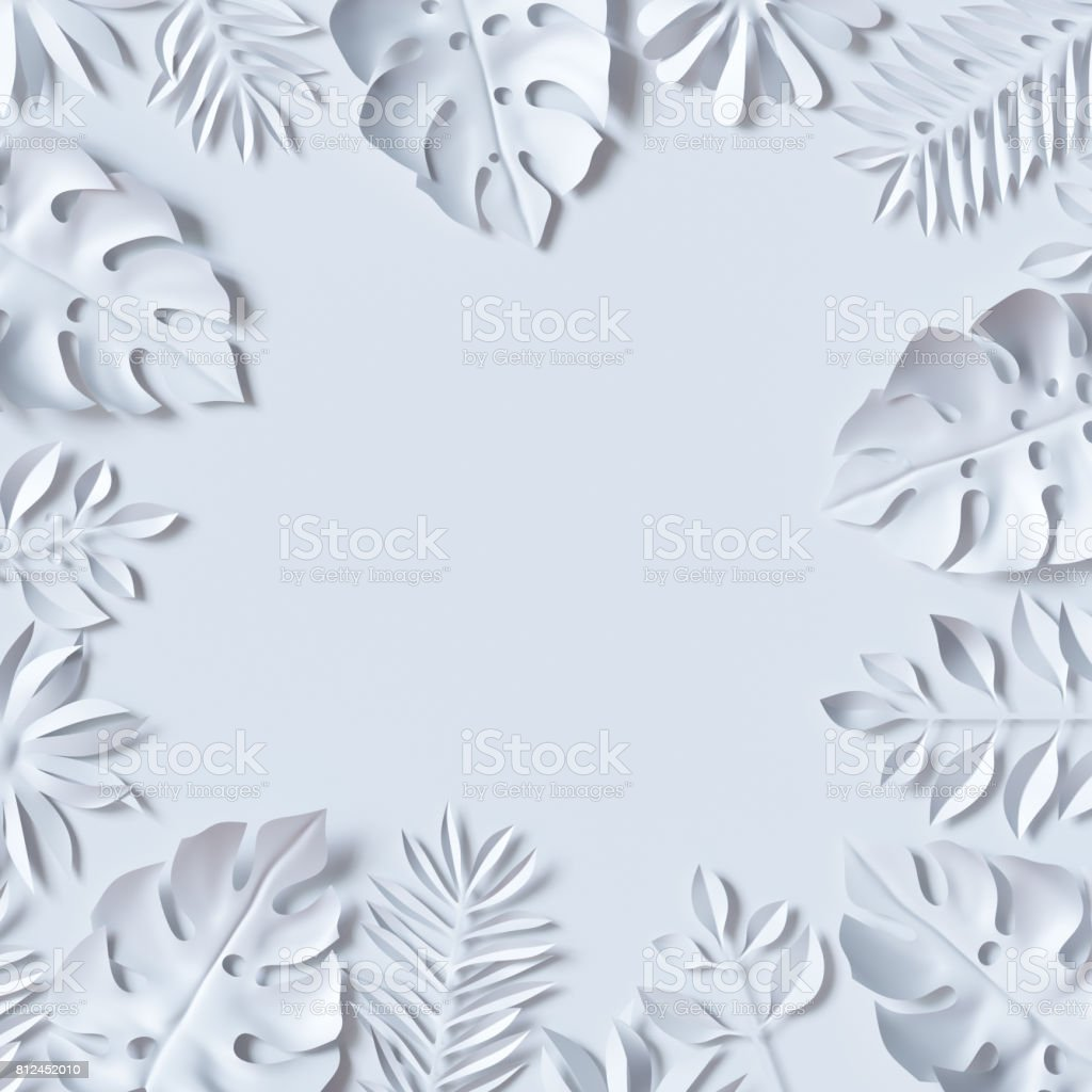 3d render, tropical paper leaves, jungle wallpaper, square frame, white background stock photo