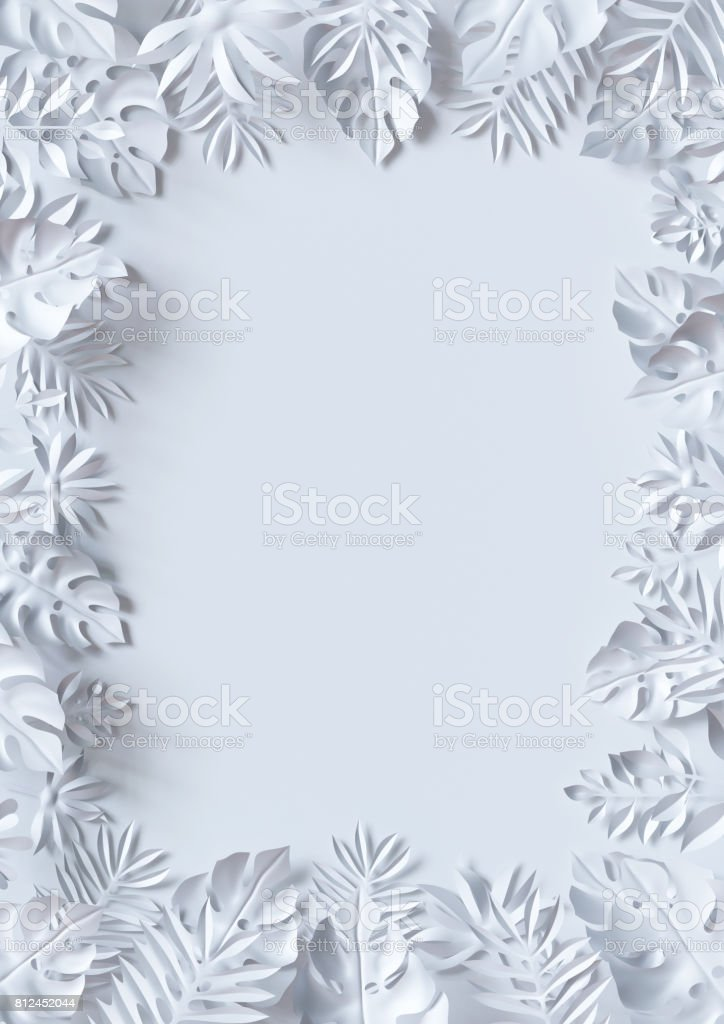 3d Render Tropical Paper Leaves Jungle Wallpaper Square Frame White Background Stock Photo Download Image Now