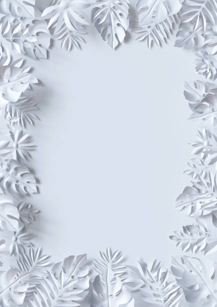 3d render, tropical paper leaves, jungle wallpaper, square frame, white background - hawaiian flowers stock photos and pictures