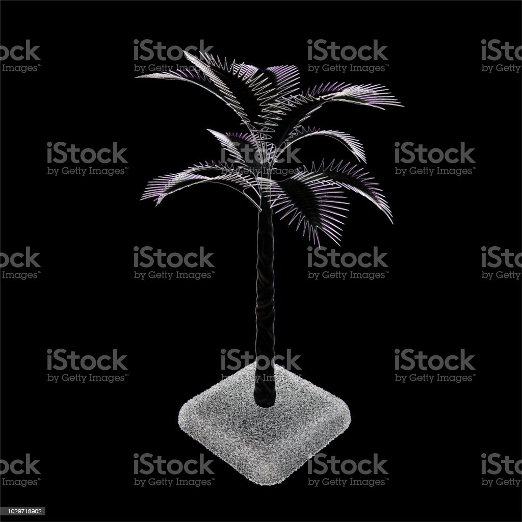 3d render. Tropical tree. A palm tree in the style of bright luminous neon lines. stock photo