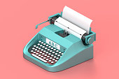 3d render typewriter with paper for writing books. Isolated concept classic technology for writer and work equipment. Low poly.  illustration.