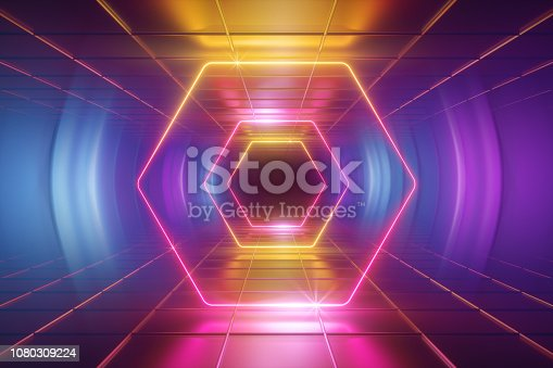 1149518720 istock photo 3d render, ultraviolet neon light, tunnel, hexagon, frame, abstract background, hexagonal portal, virtual reality environment, glowing lines, pink blue yellow spectrum, vibrant colors, laser show 1080309224
